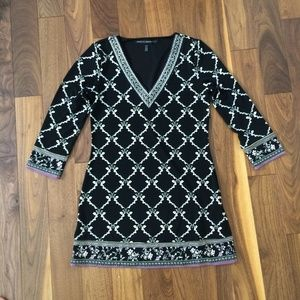 WHBM Black Tunic with Purple and Beige Print